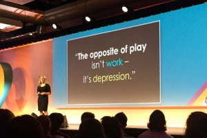 Slide saying: The opposite of play isn't work - it's depression